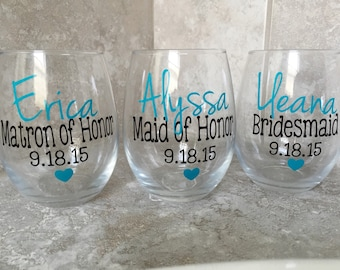 Personalized glass, Personalized Glasses, Wine Glass, Weddings, Monogram Glass, Bridesmaid Gift, Bachlorette, Bachlorette Party