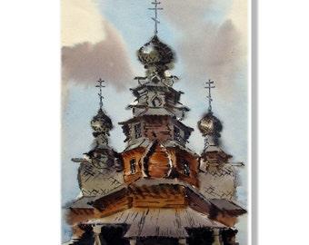 Wooden church, Russian architecture, wooden dome, village church, Russian folklore#popular print#rustic landscape#folk