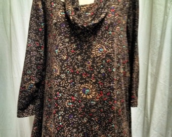 Brown Fireworks Print Handkerchief Hemline Tunic with Infinity Scarf