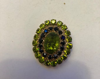 Vintage green broach and earring set