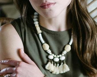 Tassel statement necklace // Pastel pendant necklace // boho necklace // bohemian fashion // bib necklace // Boho Banana tassels Necklace