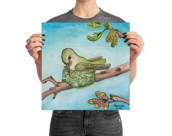 Hummingbird on Nest - Watercolour Print