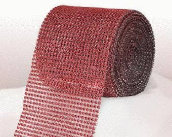 Diamante Effect  Cake Mesh Ribbon – Red x 1m