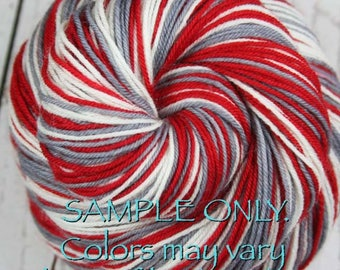 """Dyed to Order: Self striping sock yarn - """"RED-GRAY-WHITE"""" - Sports inspired - Hand dyed - Sports Team / School colors yarn - Alabama, Ohio"""
