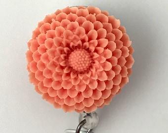 ID Badge Reel PeachFlower -  Chrysanthemum - Resin Flower Cabochon on Retractable Badge Holder 364