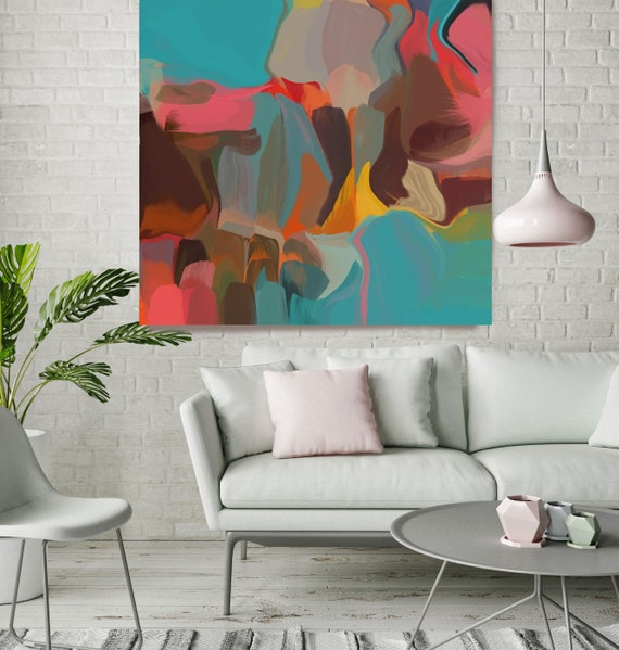 """The Conversation. Abstract Paintings Art, Extra Large Blue Red Brown Abstract Contemporary Canvas Art Print up to 48"""" by Irena Orlov"""