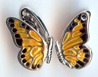 MONARCH BUTTERFLY Charm. Silver Plated Enamel. 3D. Enamel On Front Side of Wings Only. ONE Butterfly Only! dlt