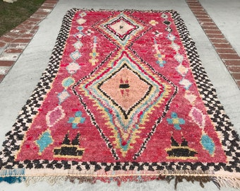 "FREE SHIPPING!!! ""STELLA"" Boho Chic Rug Vintage Moroccan Boucherouite in Multi Colors (Los Angeles)"