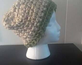Tan and Green Crochet Beanie