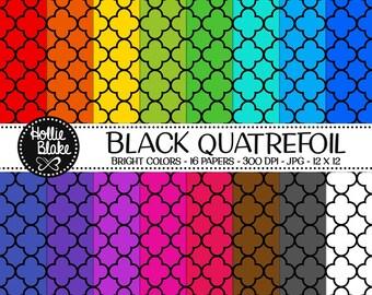 50% off SALE!! 16 Black Quatrefoil Digital Paper • Rainbow Digital Paper • Commercial Use • Instant Download • #QUATREFOIL-102-2-BB