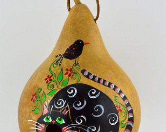 Gourd Birdhouse -  Cat Birdhouse - Painted Gourd - Bird lovers gift - Garden Art -  Wren House - Natural Decor - Black Cat -