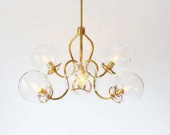 Brass Chandelier, Modern Hanging Pendant Lighting Fixture, 6 Fluted Arms, Clear Glass Globe Shades, BootsNGus Lighting and Home Decor