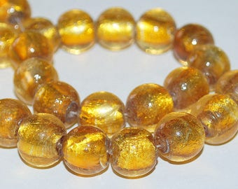 6 pcs 12~13mm Transparent Gold with Gold Foil Core Round Glass Beads