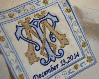 something blue embroidered wedding dress label blue and gold french silk satin bridal shower wedding patch