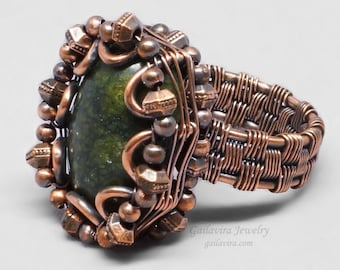 Russian Serpentine and Copper Wire Wrapped Ring - CLEARANCE