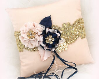 Wedding Ring Pillow Navy Blue Blush Pink Gold Vintage Style Ring Bearer Pillow Ring Cushion Ring Holder