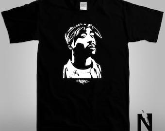 Tupac Portrait Unisex Adult Graphic Tee/ Negative Space Black T-Shirt NS010