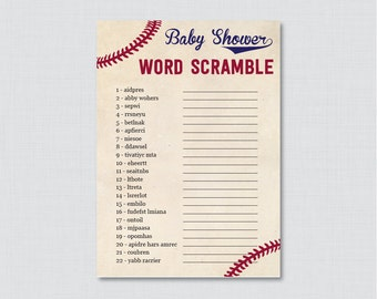 Baseball Baby Shower Word Scramble Game - Printable Instant Download Baby Word Scramble Cards - Vintage Baseball Themed Shower Game - 0027