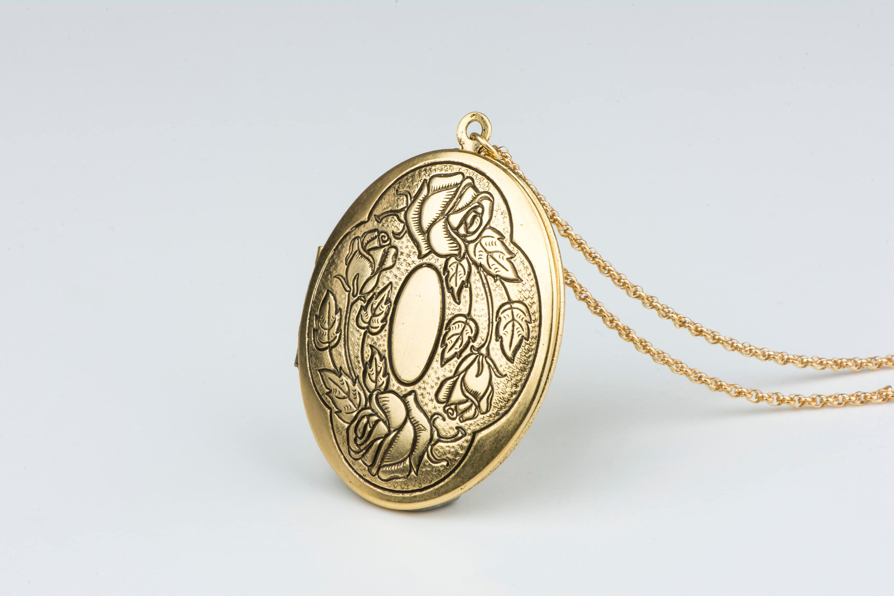 photo shipping flower on watches product stainless locket round filigree orders steel over pendant free overstock jewelry