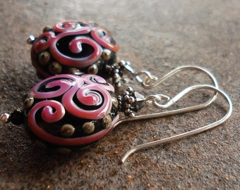 Raspberry Swirl Art Glass Earrings - Lampwork Earrings - Sterling Silver and Swarovski - Artisan Earrings - Handcrafted - Handmade