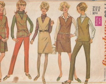 Simplicity 7795 1960's Jumper or Top, Skirt and Pants