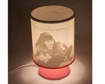 Personalized 3D Printed Lithophane Table Lamp - Covered Top