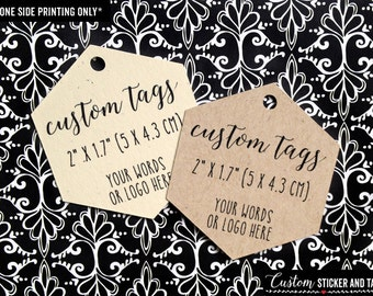 "40 custom hexagon tags with your words or logo 2"" x 1.7"" wedding favor, gift tag, hang tag, bottle tag, treat bag, personalized tag (T-83)"