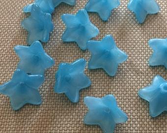 Vintage Glass Beautiful Blue Flower Beads (13x8mm)(10)