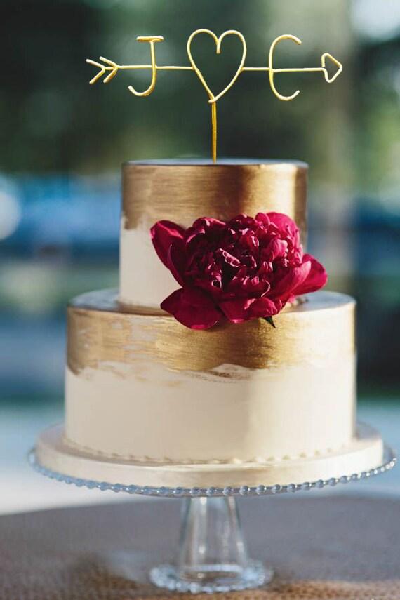 Rustic Cake Topper Wire Cake Topper Arrow & Initials Cake
