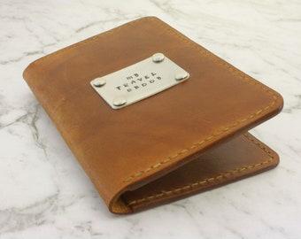 Leather Passport Wallet, Passport Sleeve, Passport & Card Holder, Metal and Leather Passport Wallet, Can Be Personalised, Handmade
