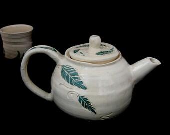 Handmade Teapot and cups. White tea set. leaves handpainted Teapot. Artistic Teapot. Handmade Clay Art, ceramic Teapot