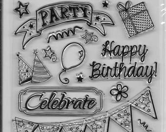 Forever In Time Clear Acrylic Stamp Set  --  NEW -- Birthday Celebration (#2402)