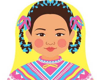 Mexican Dancer Wall Art Print featuring cultural traditional dress drawn in a Russian matryoshka nesting doll shape