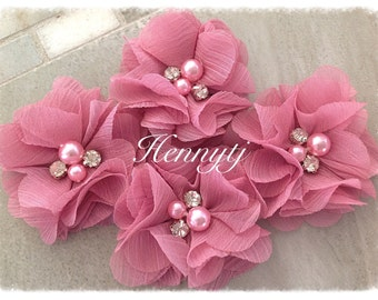 "4 pcs Aubrey MAUVE PINK - 2"" Soft Chiffon with pearls and rhinestones Mesh Layered Small Fabric Flowers, Hair accessories"