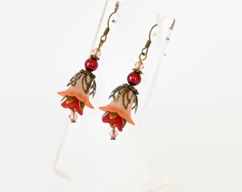 Vintage style red pink and bronze delicate hand dyed lucite flower and Swarovski crystal earrings