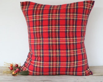 Red Tartan Royal Stewart Pillow Cover, Plaid Christmas Pillow Case, Plaid throw pillow, Custom Flannel pillow