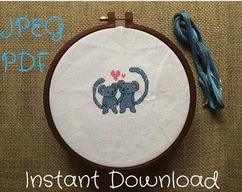 Cross stitch pattern Mice love for wedding or valentine day  PDF JPEG DMC
