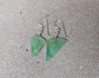 Organic Chrysoprase Earrings - translucent green Chrysoprase jewelry - Australian gem stone jewelry