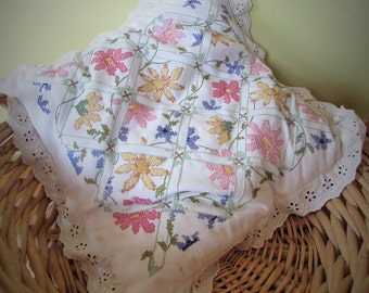 Vintage Hand Made Embroidered Cushion Cover With Ties For Fastening /MEMsArtShop.