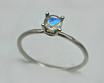 Rainbow Moonstone Ring / Minimalist Ring / Gemstone Ring / Faceted Moonstone Ring