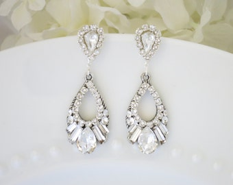 Crystal baguette drop earrings, Rhinestone bridal earrings, Swarovski crystal teardrop wedding earrings, Vintage style earrings