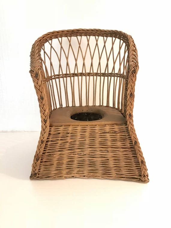 Wicker Potty Chair Antique Granit Ware Pot Childs Wicker