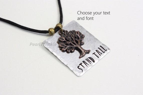Stand tall pendant necklace tree charm pendant custom word like this item aloadofball Choice Image