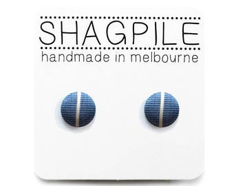 Tiny Nickel Free Button Earrings - Little Stipe on Blue - Handmade in Melbourne, Australia - Free Shipping Worldwide USA + Europe