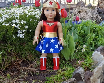 Wonder Woman Doll Outfit, Superhero Doll outfit,  Wonder Woman doll clothes, Wonder Woman doll, American Girl Wonder Woman