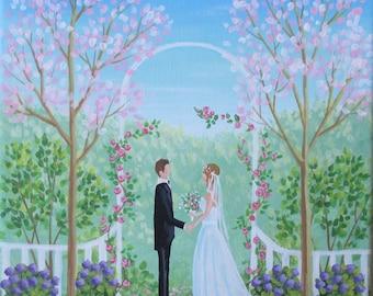 Spring Wedding Original Folk Art Painting FREE Shipping