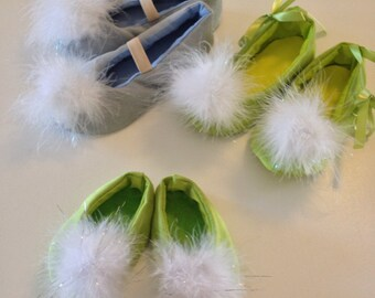 Tinkerbell Costume shoes Tink green fairy pixie bright lime green with pom poms Adult Sizes