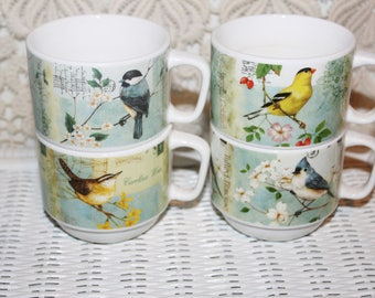 Stacking Coffee Cups with Tower Stand 4 Cups with SongBirds Pictorials Ceramic Stacking Cups with Stand