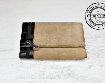 Brighton Leather & Suede tri-fold Wallet/Brighton Leather Organizer Wallet/Brighton Leather Clutch/Leather Suede Wallet/Black Tan Wallet