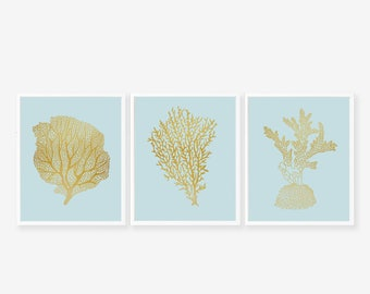 Set of 3 Faux Gold Foil Coral Reef Art Prints - Instant Digital Download
